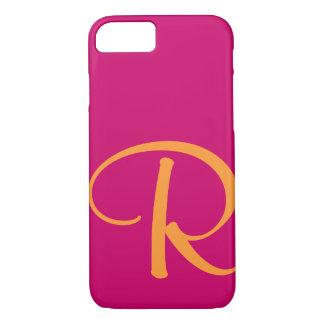 Monograma anaranjado brillante de las rosas funda iPhone 7