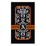 Monograma anaranjado de la banda del damasco blanc plantillas de tarjetas personales