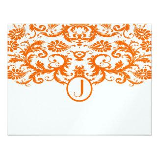 Monograma anaranjado del damasco que casa las tarj