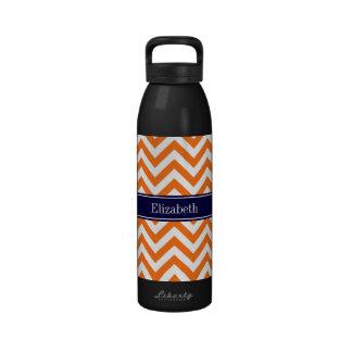 Monograma anaranjado del nombre de la marina de gu botellas de beber