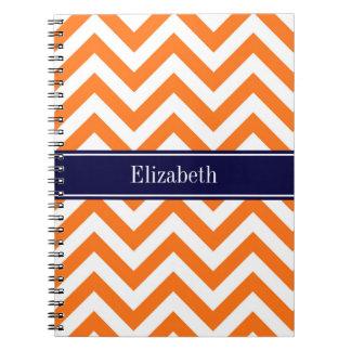 Monograma anaranjado del nombre de la marina de spiral notebook