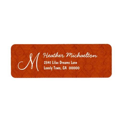 Monograma anaranjado M o cualquier M008 inicial de Etiqueta De Remite