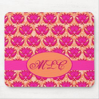 Monograma anaranjado rosado fucsia del damasco de  tapete de ratón