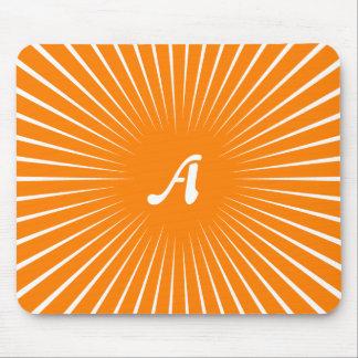 Monograma anaranjado y blanco de los Sunrays Alfombrilla De Raton