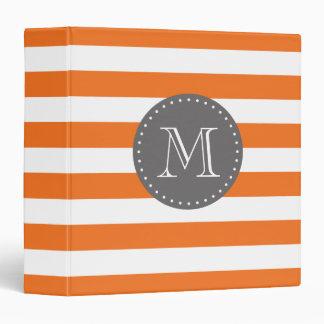 """Monograma anaranjado y gris del personalizado de carpeta 1 1/2"""""""