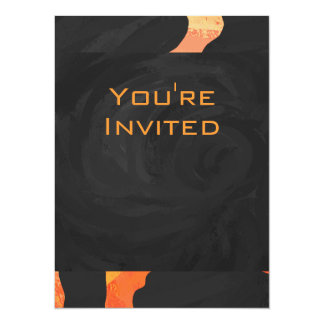 """Monograma anaranjado y negro de la cebra invitación 5.5"""" x 7.5"""""""
