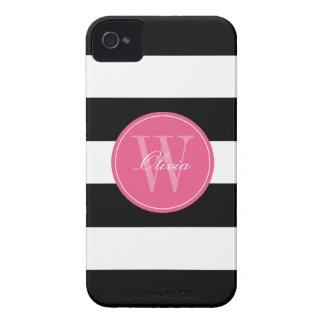 Monograma ancho blanco y negro del modelo de las iPhone 4 Case-Mate cobertura