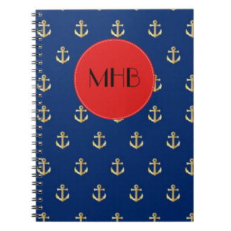 Monograma - ancla náutica de moda - rojo azul del libreta espiral