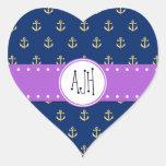 Monograma - ancla náutica - púrpura azul del oro pegatina corazón