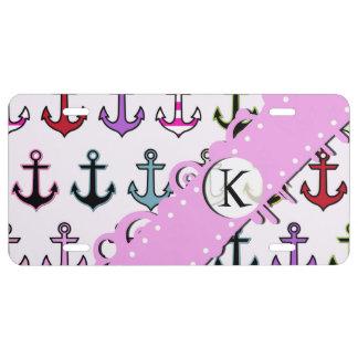 Monograma - anclas coloridas (anclas del barco) placa de matrícula