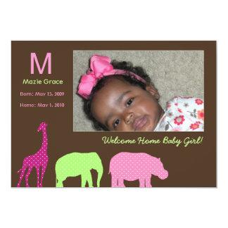 """Monograma animal africano: Rosa Invitación 5"""" X 7"""""""