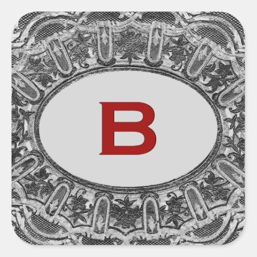 Monograma antiguo gris del cordón B o cualquier Pegatina Cuadrada