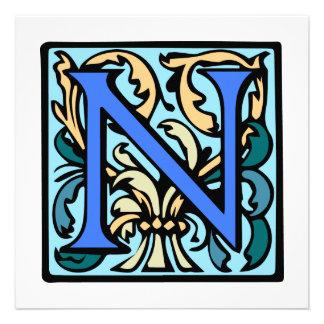 Monograma antiguo medieval elegante de la inicial invitaciones personales