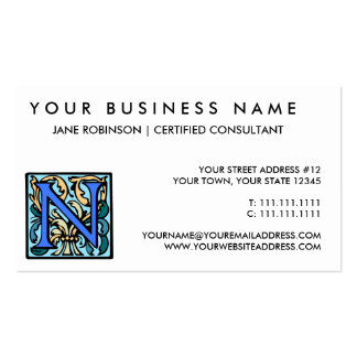 Monograma antiguo medieval elegante de la inicial  plantilla de tarjeta de negocio