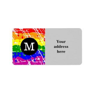 Monograma apenado del goteo del arco iris etiqueta de dirección