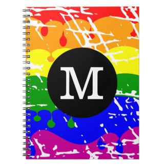 Monograma apenado del goteo del arco iris libretas