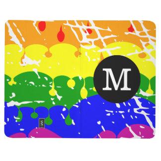Monograma apenado pintura del goteo del arco iris cuaderno