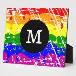 Monograma apenado pintura del goteo del arco iris placa