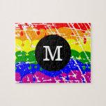 Monograma apenado pintura del goteo del arco iris puzzles