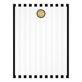 Monograma apenado raya blanca negra de Steampunk 3 Plantillas De Membrete