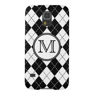 Monograma Argyle blanco y negro Fundas Para Galaxy S5