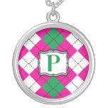 Monograma Argyle de la letra P Collar Personalizado