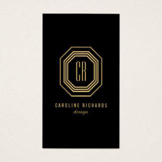 Monograma atractivo de las iniciales del art déco tarjetas de visita