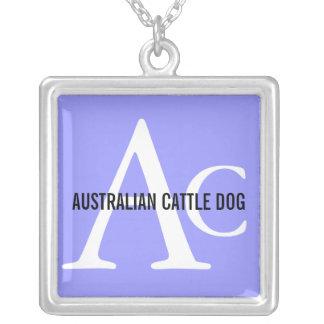 Monograma australiano del perro del ganado colgante cuadrado
