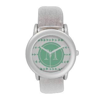 Monograma azteca blanco de las flechas de la verde relojes de mano