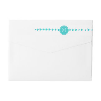 Monograma azteca blanco de las flechas de la etiquetas postales