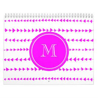 Monograma azteca blanco de las flechas de las rosa calendario