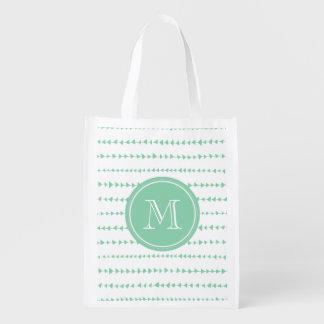 monograma azteca blanco de las flechas del carbón  bolsa de la compra