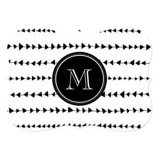 """Monograma azteca blanco negro de las flechas invitación 5"""" x 7"""""""