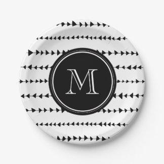 Monograma azteca blanco negro de las flechas plato de papel de 7 pulgadas