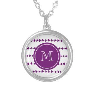 Monograma azteca blanco púrpura de las flechas pendiente personalizado
