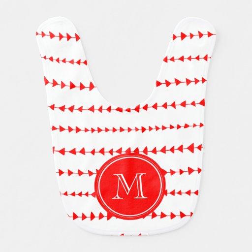 Monograma azteca blanco rojo de las flechas babero
