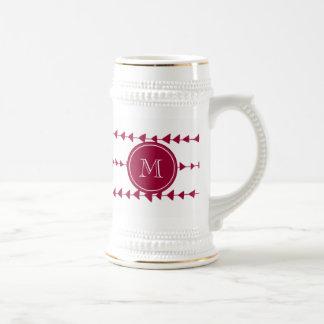 Monograma azteca blanco rojo de las flechas de la  jarra de cerveza