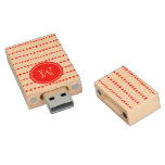 Monograma azteca blanco rojo de las flechas memoria USB 2.0 de madera