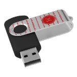 Monograma azteca blanco rojo de las flechas pen drive giratorio USB 2.0