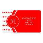 Monograma azteca blanco rojo de las flechas plantilla de tarjeta de negocio