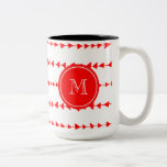 Monograma azteca blanco rojo de las flechas tazas de café