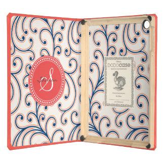 Monograma azul anaranjado femenino elegante del