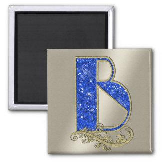 Monograma azul B de BGMB Imán Cuadrado