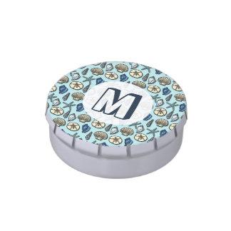 Monograma azul bonito del modelo del mar de las jarrones de caramelos