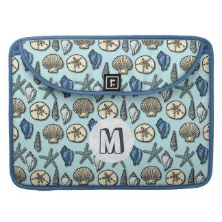 Monograma azul bonito del modelo del mar de las funda para macbooks
