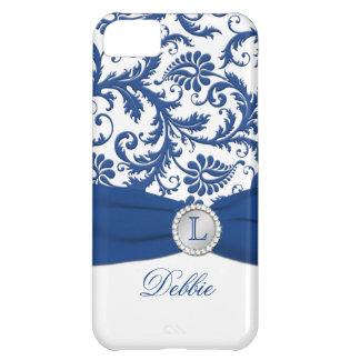 Monograma azul, caja blanca del iPhone 5 del