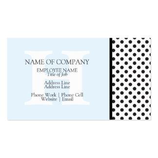 Monograma azul claro blanco negro del diseñador de tarjetas de visita