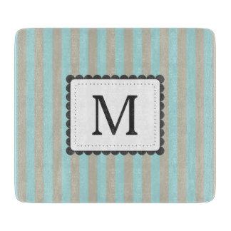 Monograma azul claro y beige del personalizado de tablas para cortar