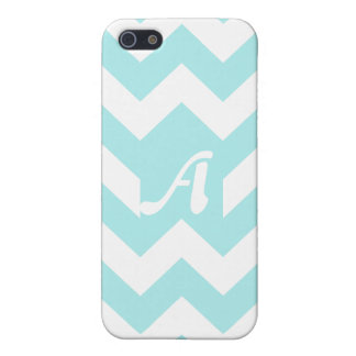 Monograma azul claro y blanco del zigzag iPhone 5 protector