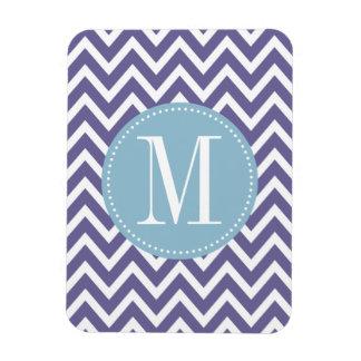 Monograma azul claro y púrpura del personalizado d imán flexible